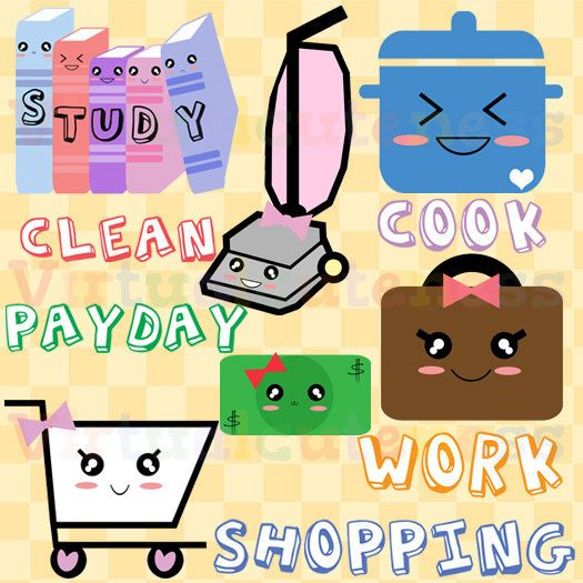 Planner Clipart, To Do List, Weekly, Work, Study, Cart, Cooking, Vacuum, Money, Cute Clipart, Kawaii, Fun, Free Commercial and Personal Use
