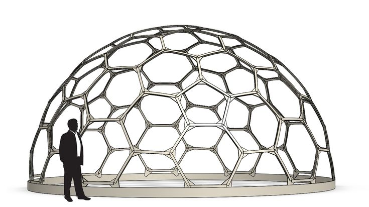 9 meter hex dome.  3 hub types, 2 strut lengths. by Robert Clark