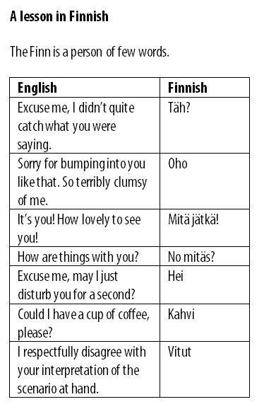 A lesson in Finnish