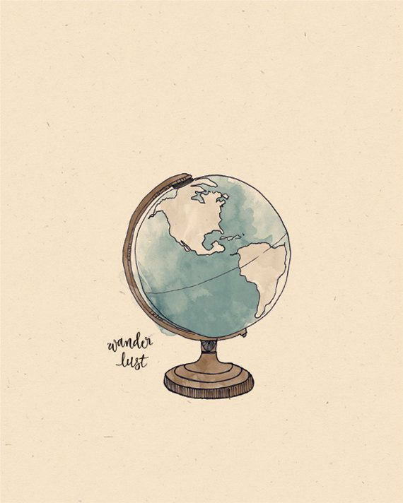 Around the World GLOBE Illustration Print by AnAprilIdea on Etsy  Cute Idea for a tattoo!
