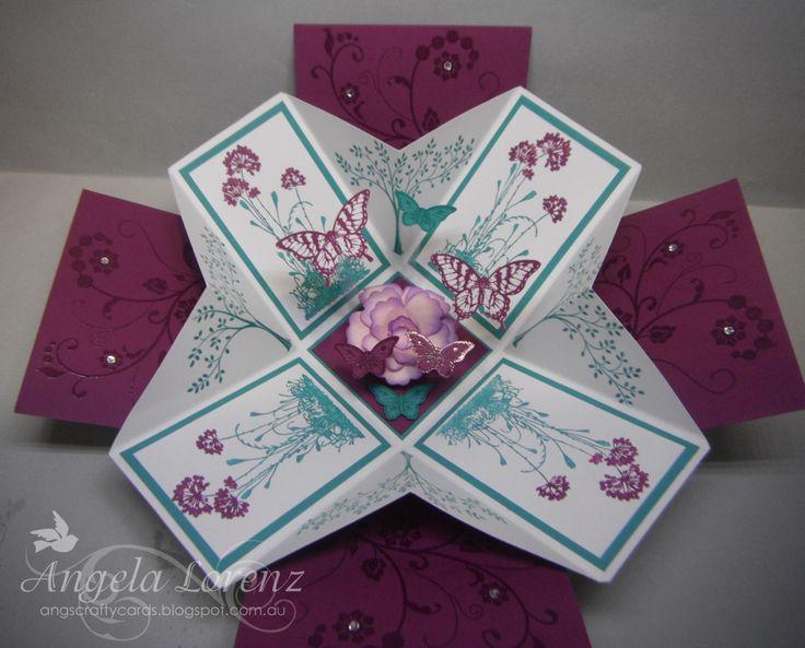 Angela Lorenz. Stampin Up box card. Love the folds. angscraftcards.blogspot.com.au Exploding Box Card