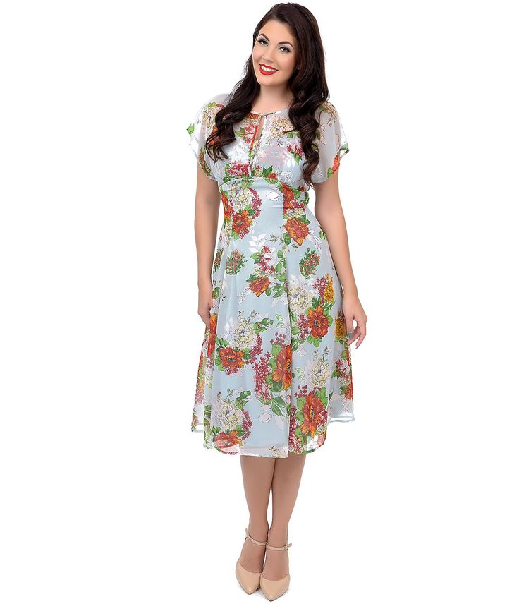 1940s day tea dress:Hell Bunny 1940s Style Light Blue Floral Short Sleeve Florrie Swing Dress $78.00 AT vintagedancer.com