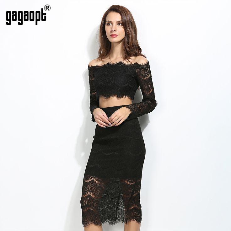 Gagaopt 2017 sexy women dress slash шеи белый black lace dress 2 шт. топ + длинные dress элегантный бальные платья vestidos халаты купить на AliExpress