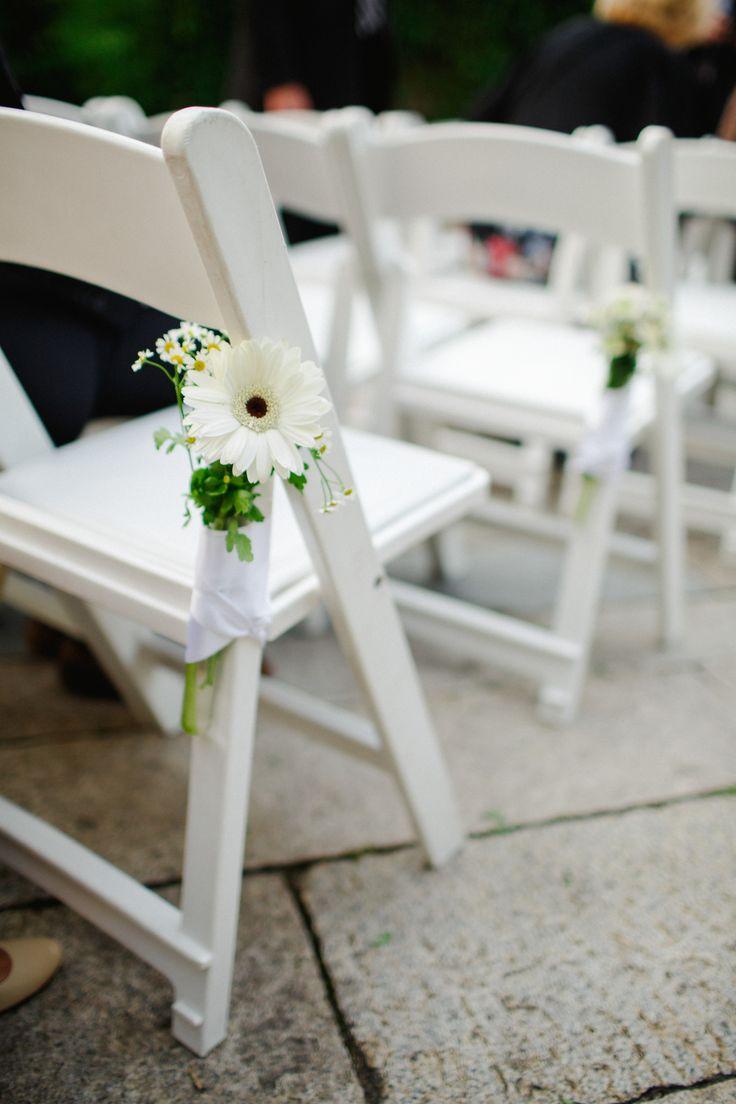 White Gerbera Daisy Aisle Decorations