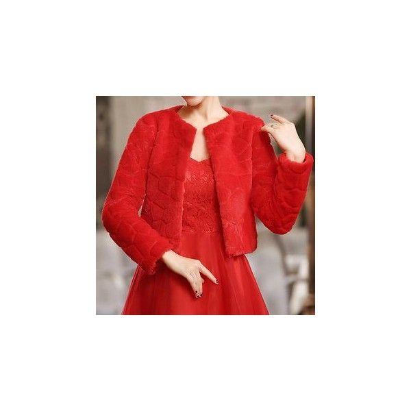 Faux Fur Bolero ($21) ❤ liked on Polyvore featuring outerwear, jackets, women, fake fur jacket, red bolero jacket, red bolero, bolero jacket and thin jackets