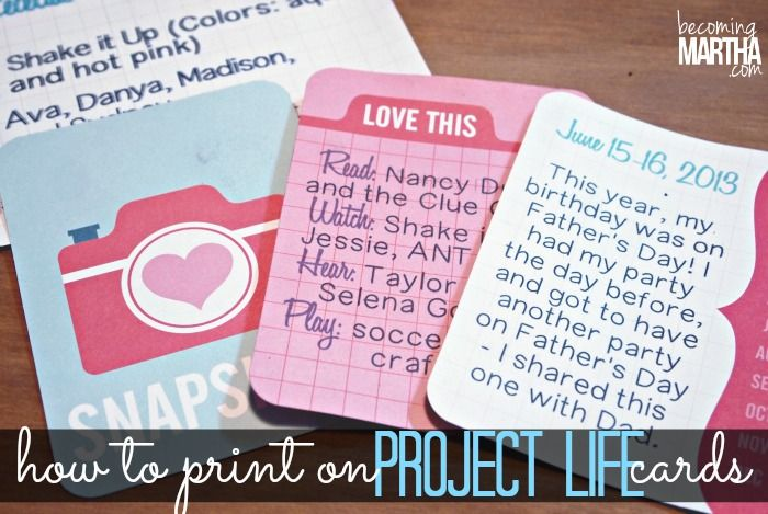 project life cards | How to Print on Project Life Cards - Becoming Martha
