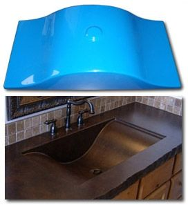 Concrete sink mold, made out of industrial grade fiberglass.  Dura-Blu molds are durable molds for casting concrete countertop integral and stand alone vessel sinks.  Wave Design.