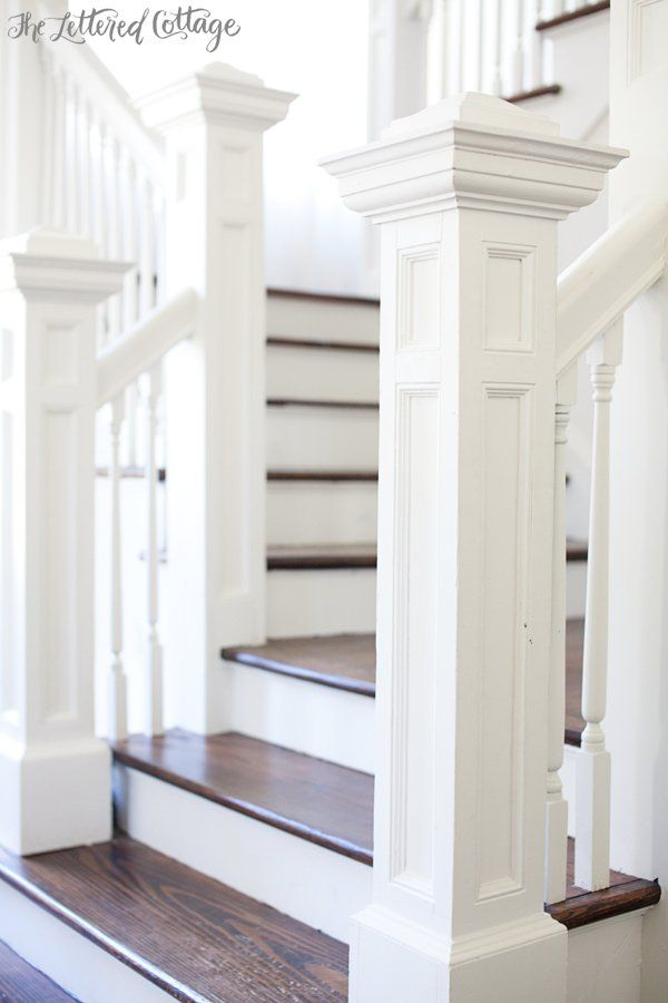 Open Staircase | Stairs | Newel Posts | Dark Wood Treads | Old House