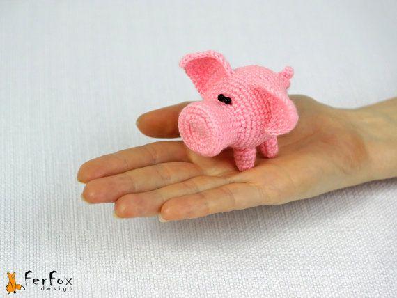Miniature pig, crochet piggy, amigurumi animal, little stuffed pig - Sally the Piggy