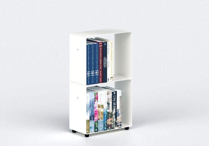 Bibliotheque Basse 30 Cm Metal Blanc 2 Niveaux Bibliotheque Basse Systeme De Rangement Bibliotheque