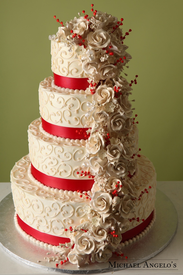 red and ivory wedding cakes scarlet amp ivory 19floral floral finesse 19082