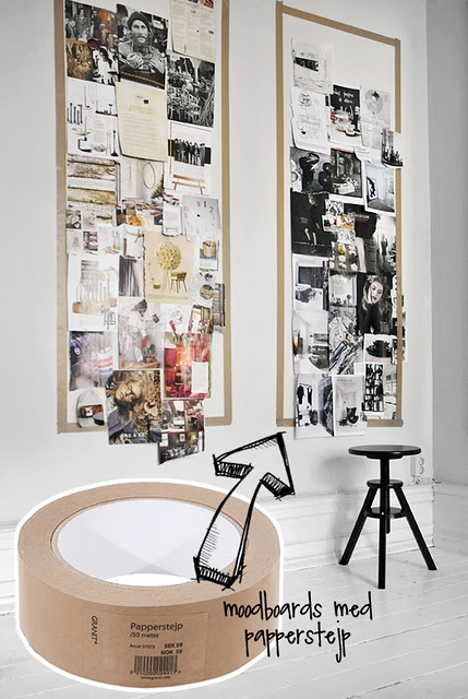 Great moldboard using decorative (or washi tape) - office or studio.