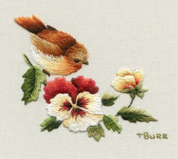 VINTAGE ROBIN & PANSIES by TRISHBURREMBROIDERY on Etsy