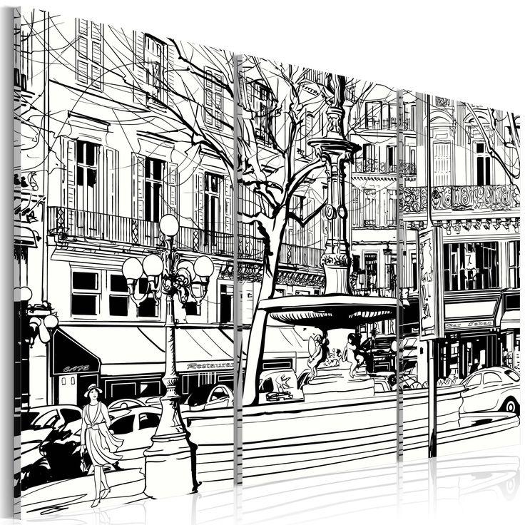 Czarno-biały obraz #draw #black #white #picture #street #painting