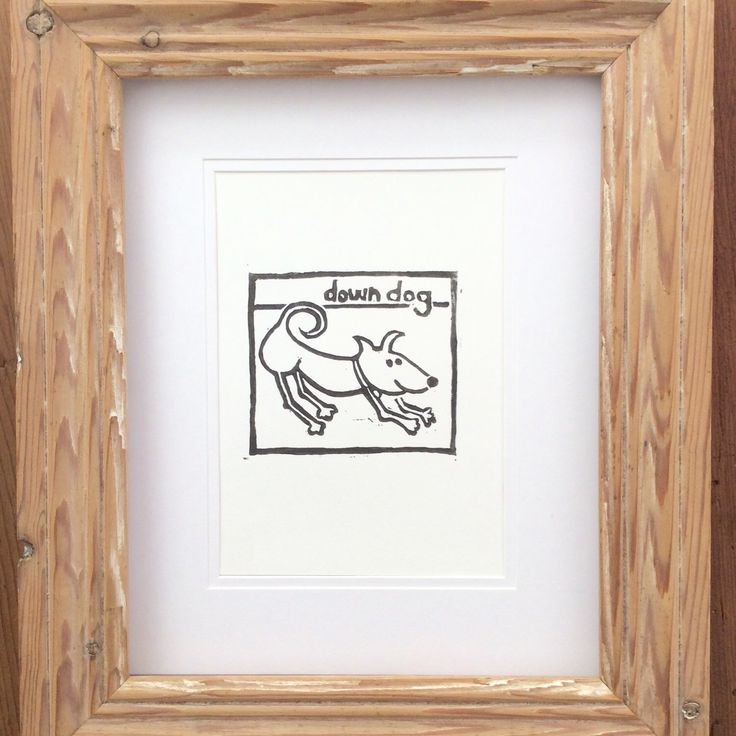 Completed Hand carved and printed Yoga Dog.  Limited Hand print.