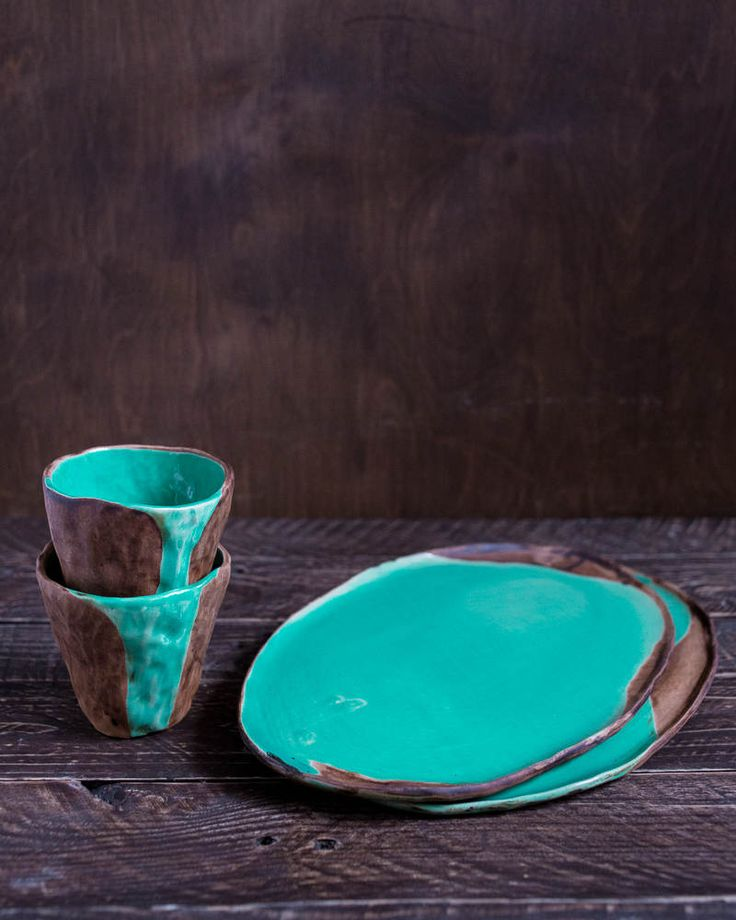 Two cups and plates turquoise set, japanese style pottery, rustic tea set, raku cup, minimalist white cup, wabi sabi cup set, coffee cup set by KateVoronina on Etsy