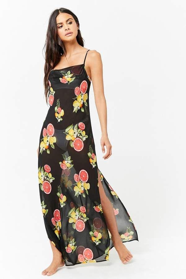 c3db2e1e61 Forever 21 Sheer Citrus & Floral Swim Cover-Up Maxi Dress #dress #coverup  #summer #swimming #affiliate #beach #pool