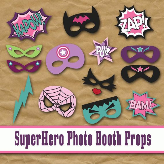 SuperHero Girls Photo Booth Props and Decorations - Printable Props and Decorations - Over 45 Images - Digital Download- INSTaNT DOWNLoAD