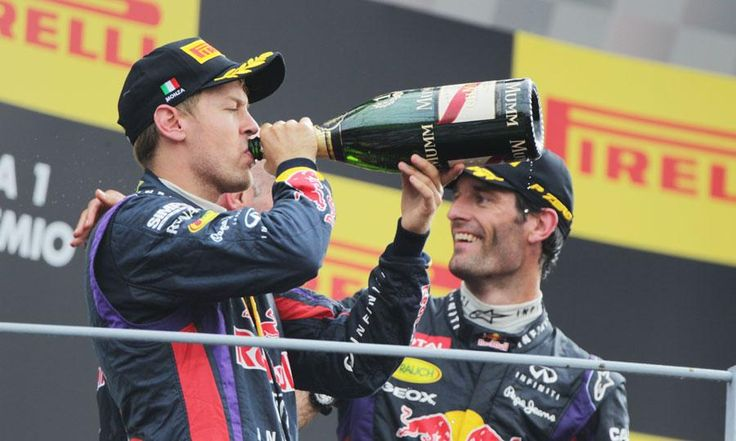 Sebastian Vettel, left, and Red Bull Racing teammate Mark Webber enjoy their time on the podium in Monza after finishing 1-3 in the Italian Grand Prix. http://www.pitstopfans.com/threads/formula-one-italian-grand-prix-recap.65/