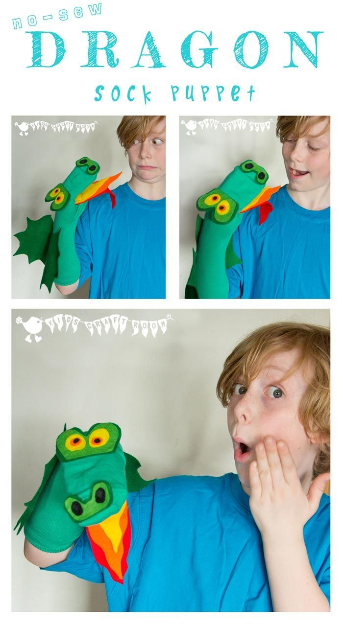 DRAGON SOCK PUPPET Kids will enjoy hours of imaginative play with this cheeky dragon sock puppet. It's a no-sew kids dragon craft so it's nice and easy for little hands to make.