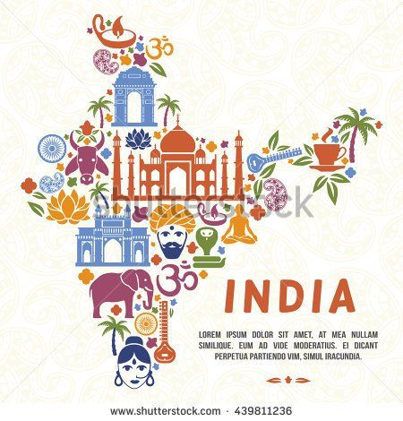Traditional Indian symbols, culture in the form of India map. Vector illustration