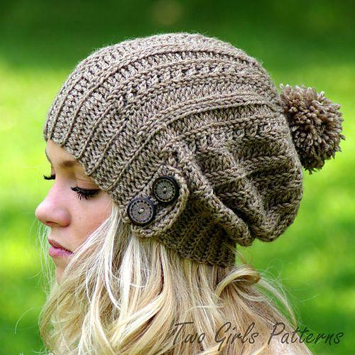 Slouch Hat Crochet Pattern Slouchy easy knit look crochet