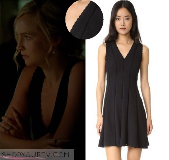 Caroline Forbes (Candice Accola) wears this black scalloped neckline deep v neck textured sleeveless dress in this episode of The Vampire Diaries, [...]