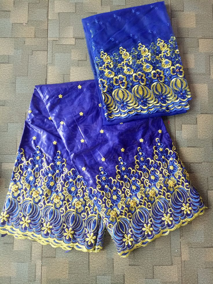 wholesale Embroidered fabric Nigerian beaded lace fabric African bazin riche getzner fabric wedding dress royalblue #WeddingDressesLace