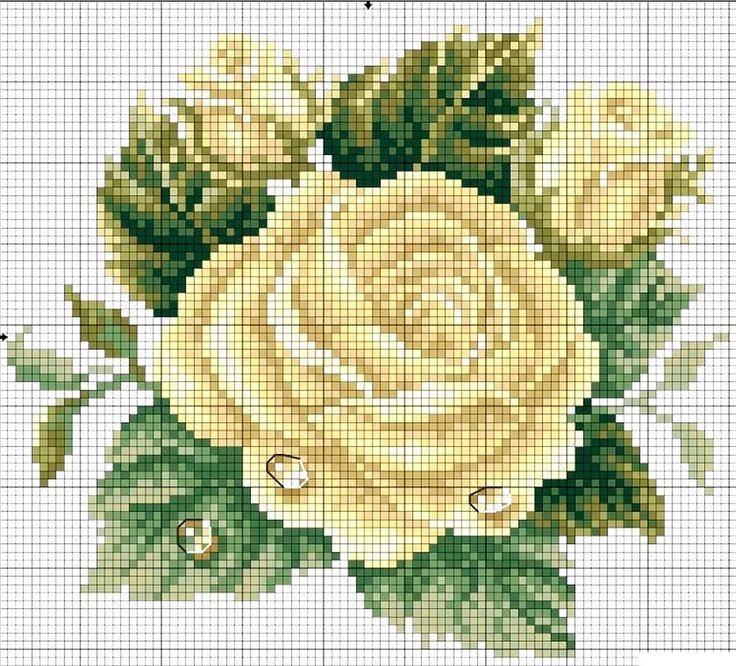 Fiori rose punto croce