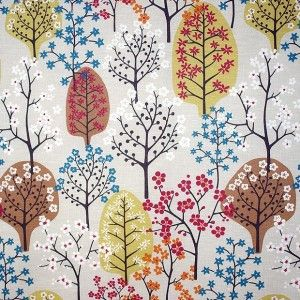 Fabric with beautiful trees - Spira Haga Nougat Scandinavian Fabric (husandhem.co.uk)
