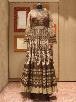 Brown Georgette Anarkali Suit With Resham Embroidery Work