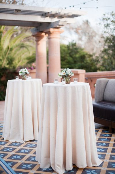 Loving these tables! Perfect for guests to socialize! {Petula Pea Photography} www.rusticevents.com