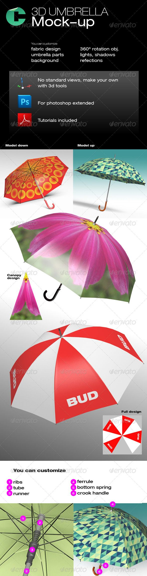 3D Object - Umbrella  #GraphicRiver         This product is compatible with Adobe Photoshop CS5 Extended and CS6 Extended   PDF tutorial included for this model   FEATURES   3D model with easy customization  Rotate 360 degrees  Move around  You can set any background  You can scale up to 4000×4000 pixels  canopy placeholder  Object Shadows  Ground plane shadows  Lights control    In this set: 1 PDF tutorial, 2 3d models, 2 reference canopy in photoshop    You may download the tutorial…