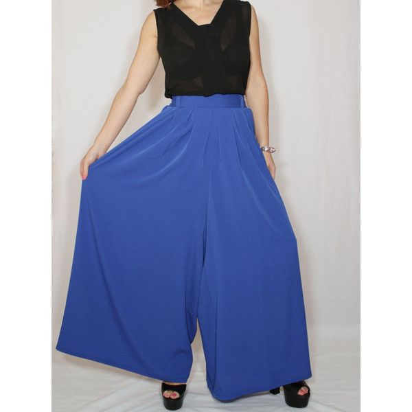 Cobalt Blue Pant Skirt Chiffon Palazzo Pants Fashion Skirt Pants (185 RON) ❤ liked on Polyvore featuring pants, grey, women's clothing, gray pants, chiffon pants, grey palazzo pants, pleated pants and lined pants