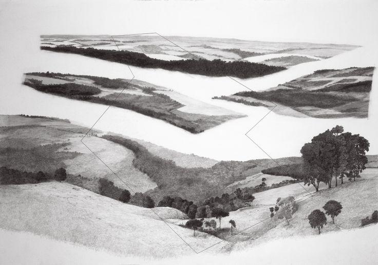 "francisco faria - ""refiguration on pontal do paranapanema (erased)"", 1999. graphite on paper, 70 x 100 cm."