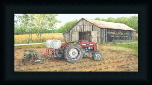 Working The Fields by John Red Tractor Farm Framed Art Print Wall Décor Picture | eBay