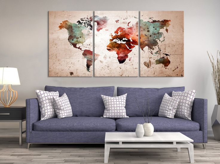Mejores 26 imgenes de watercolor world map canvas en pinterest watercolor world map canvas print triptych art watercolor world map canvas print world map gumiabroncs Image collections