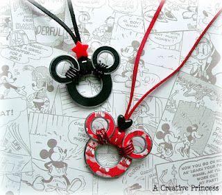 Disney craftIdeas, Mickey Mouse, Disney Necklaces, Disney Crafts, Disney Trips, Minnie Mouse, Mouse Necklaces, Washer Necklaces, Mouse Washer