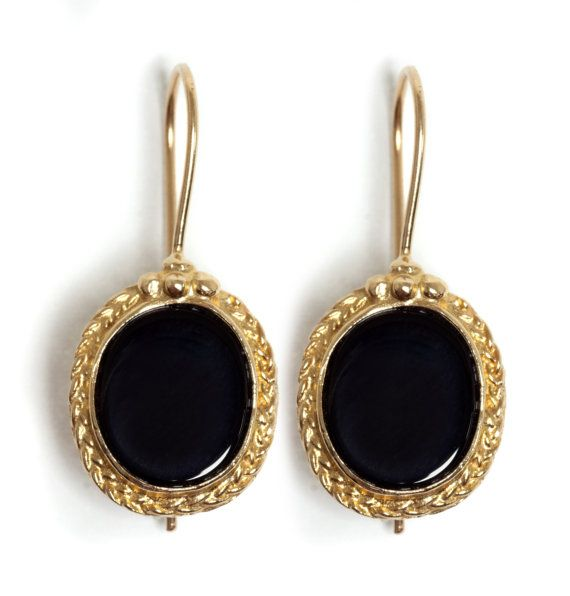 14K Gold Filled Braided oval dangle Earrings inlaid with Onyx, 14K Gold plated Braided oval dangle Earrings inlaid with Onyx