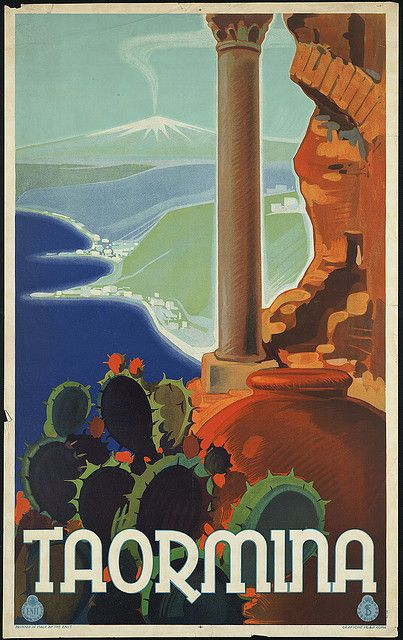 'Taormina'. 20th century. #italy #poster #travel