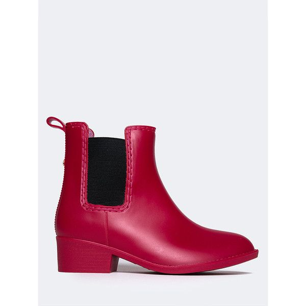 J. Adams Kaden Jelly Rain Boot ($29) ❤ liked on Polyvore featuring shoes, boots, red matte, small heel boots, red rubber boots, wellington boots, low heel boots and red boots