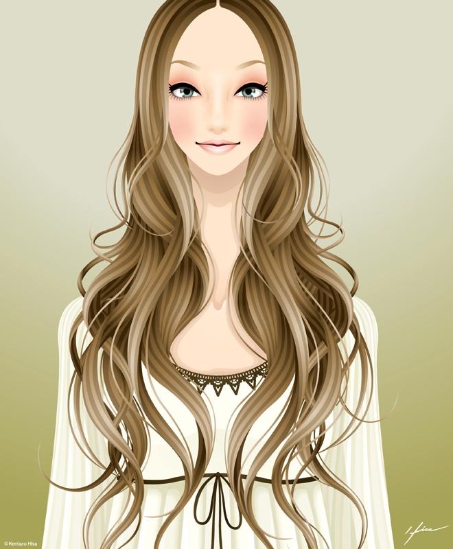 Girl Illustration. Long Hair / Illustrazione Ragazza. Capelli Lunghi - Art by Kentaro Hisa (Fukushima, Japan)