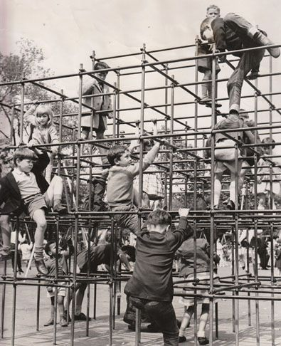 repinning 'cause it's true.  Monkey Bars -If you fell, you hit ten steel bars before you landed.  It's a wonder we made it out of the 50's alive.