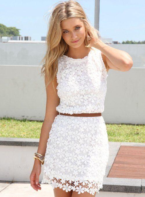Stunning White Lace Summer Dress 2014-- so feminine, really like this