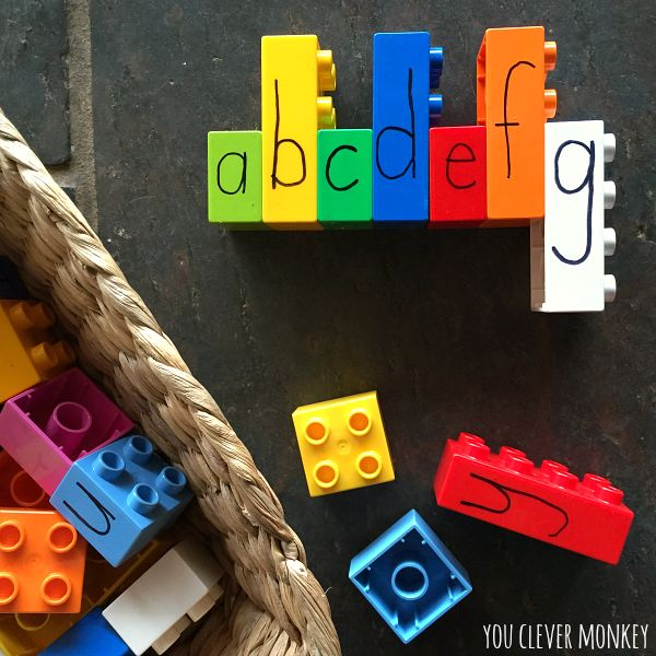Learning Letters with Lego - 5 different ideas for learning letters - upper and lower case, alphabetical order, letter formation and sight words in the Early Years through hands on play. Perfect learning activities for preschoolers at home and in the classroom | you clever monkey