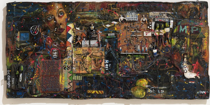 Willie Bester - Control room  - 1999 - Mixed media on board - 67 x 140 cm