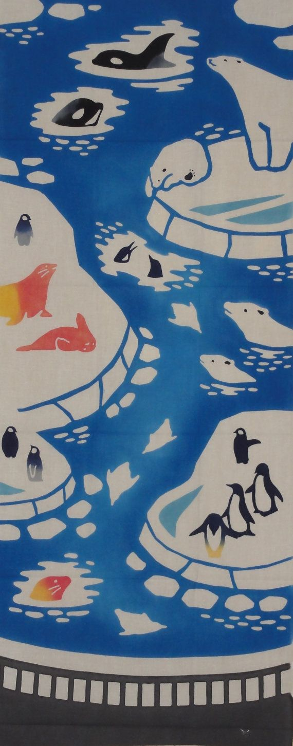 Tenugui Japanese Fabric 'Polar Bears  by kyotocollection on Etsy, $16.00