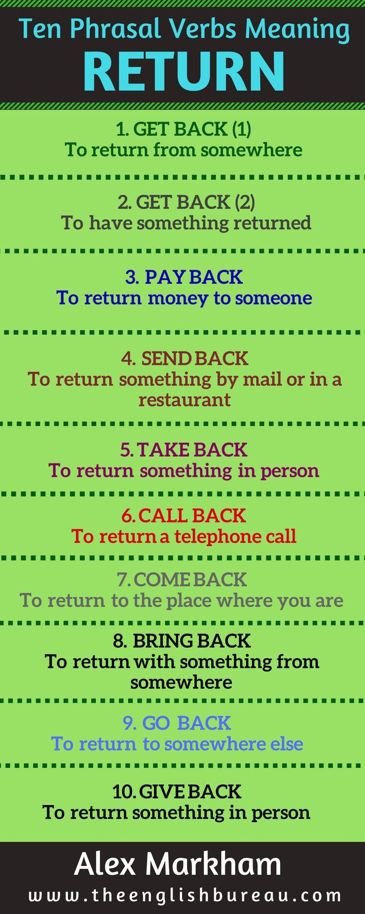Phrasal verbs give us extra information. Here are ten examples to replace the verb return