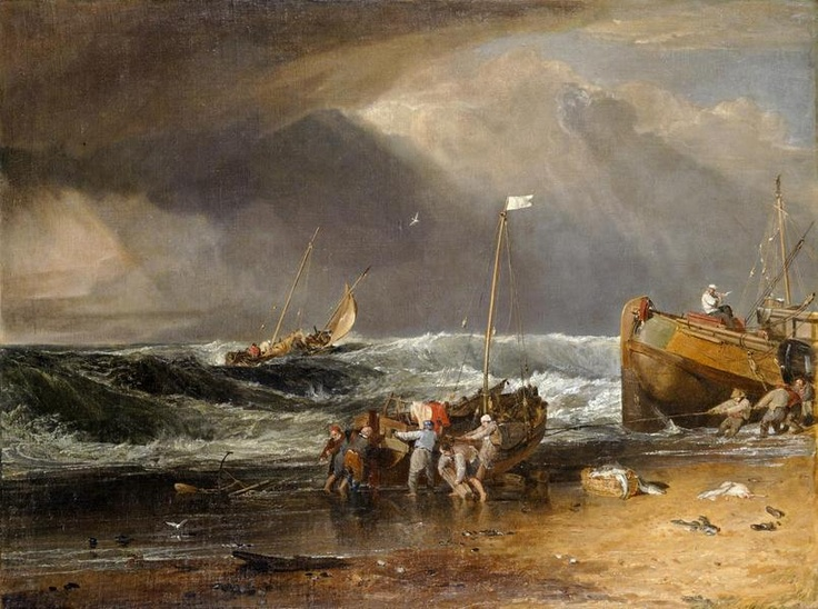 "Joseph Mallord William Turner, ""A Coast Scene with Fisherman Hauling a Boat Ashore"" (""The Iveagh Sea-Piece""), c. 1803–04, oil on canvas, Kenwood House, English Heritage, Iveagh Bequest. (Courtesy American Federation of Arts)"