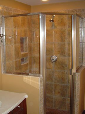 Semi Frameless Neo Angle Shower Enclosure With Both Panels On Knee Walls.  Door Is Hinged